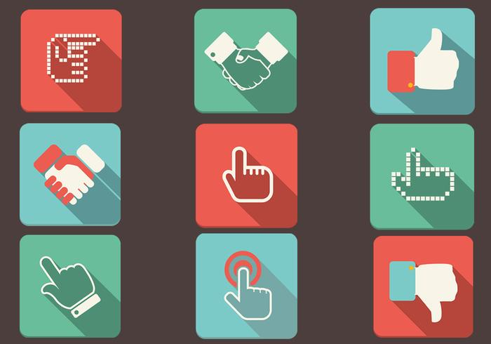 Flat Shadow Hand Icons Vector Set