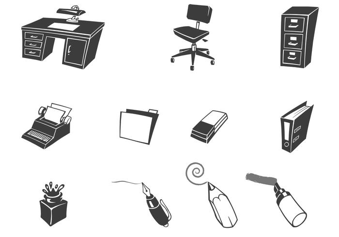 Retro escritorio de la colección de vectores de oficina