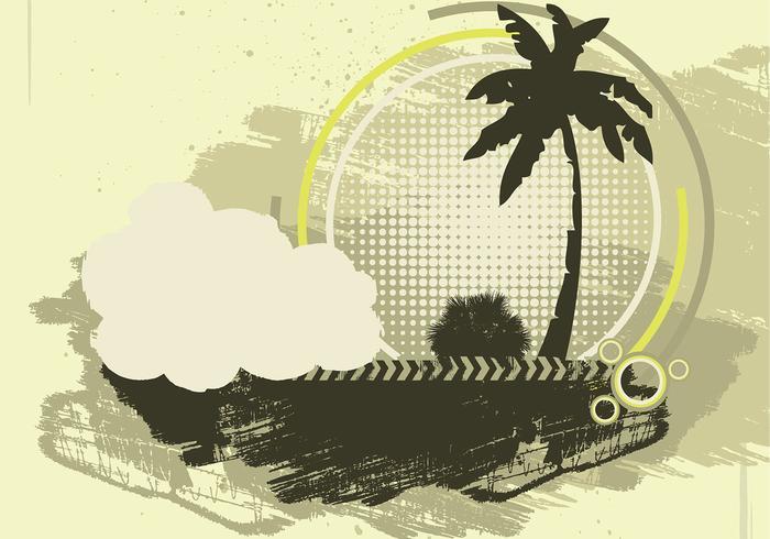 Grunge palm tree vector background