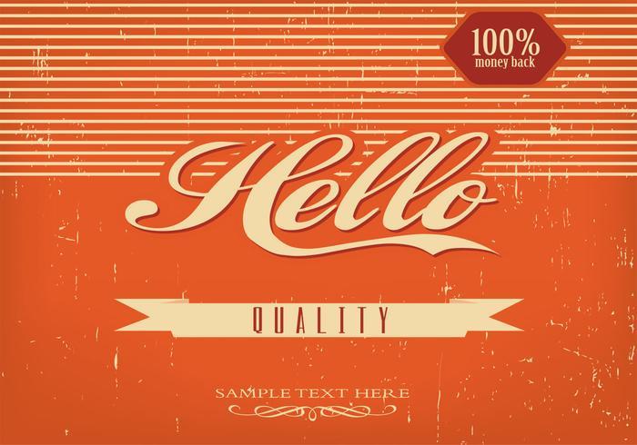 Vintage Hello Background Vector