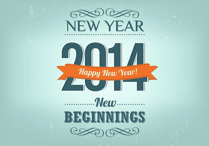 Retro New Year Background Vector