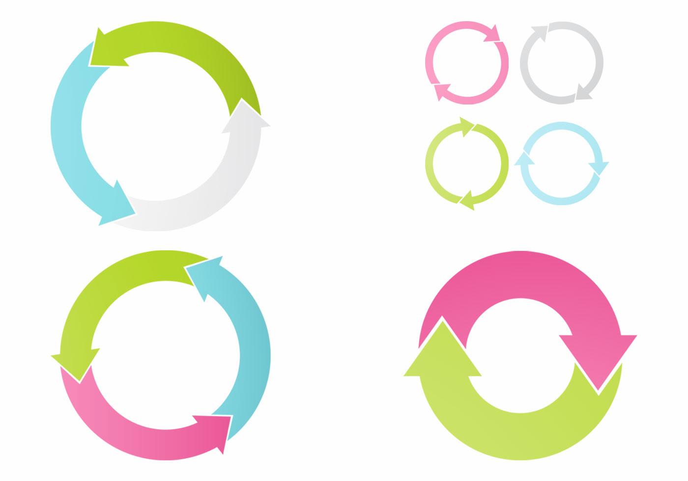 Circular Arrows Vector Set - Download Free Vectors ...