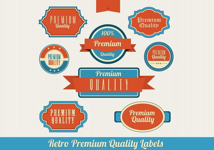 Retro premium label vector set