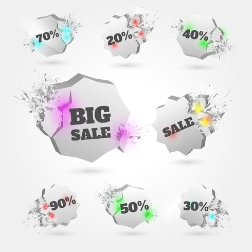 3D Explosion Sale Badges Vector Set