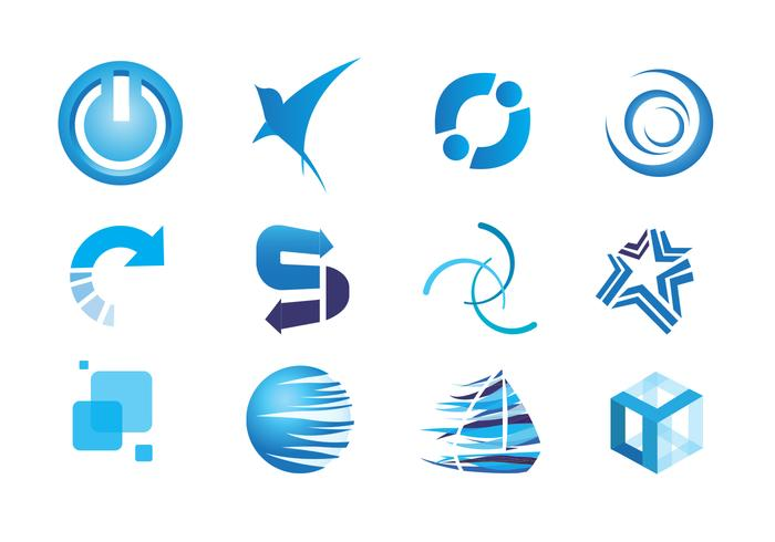 Blue Icons Vector Set
