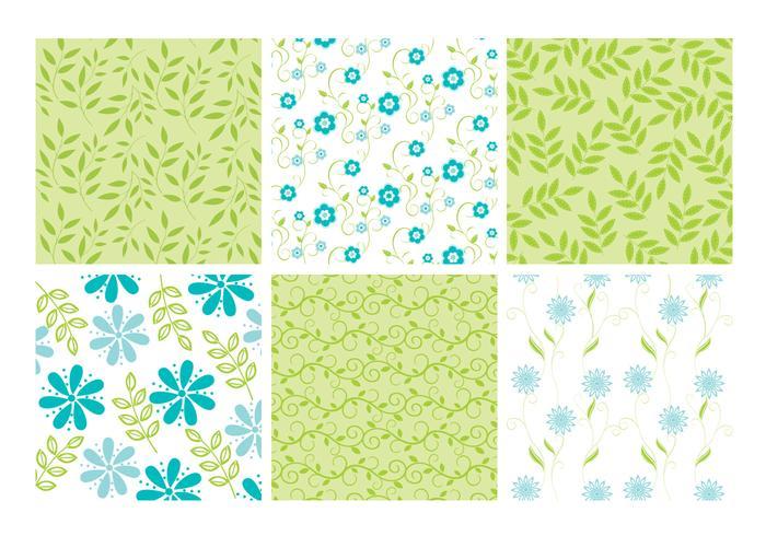 Blue Green Floral Leaves Backgrounds Vector Set
