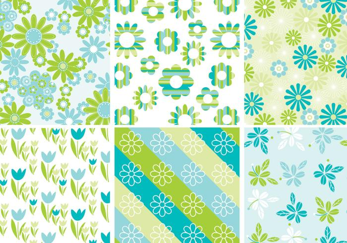 Cute Spring Floral Background Vector Pack