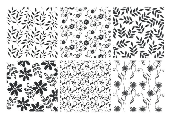 Floral Leaves Backgrounds Vector Set