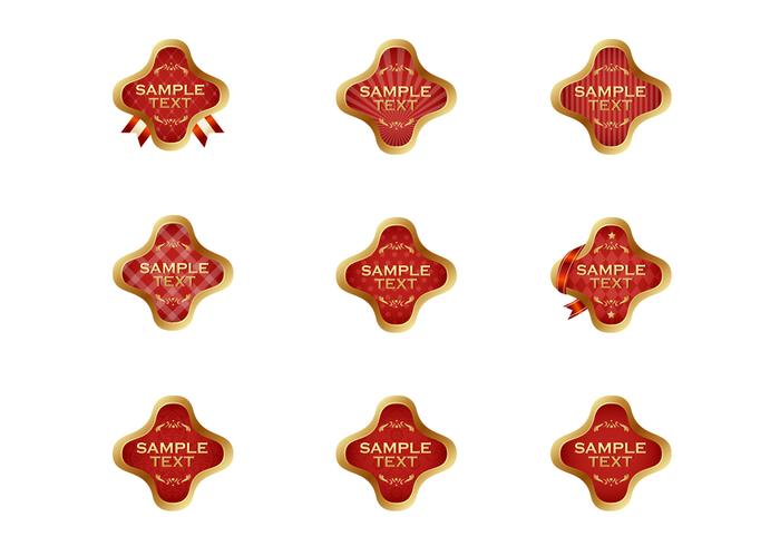 Gouden Rode Label Vector Set