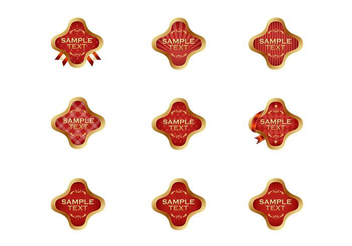 Guld Röd Etikett Vector Set