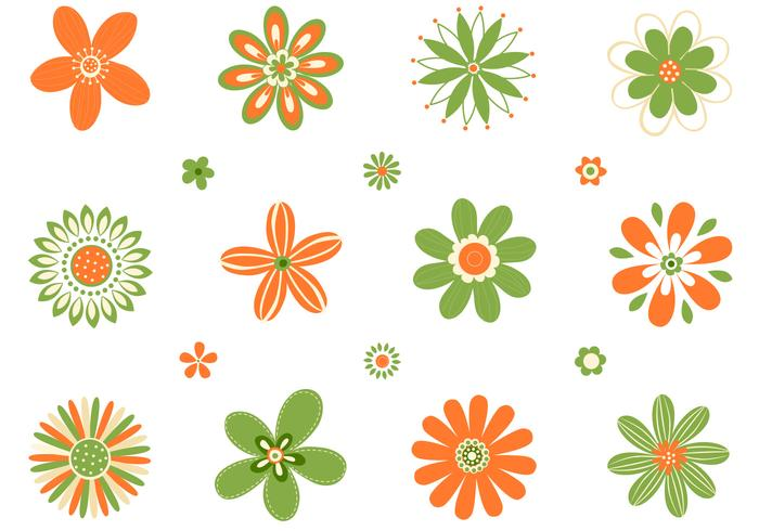 Retro Orange Green Flowers Vector Set