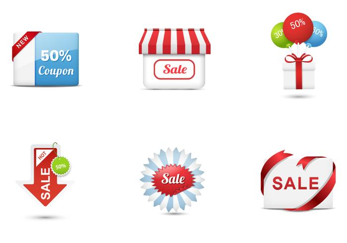 Stylish Sales Icons Vector Collection