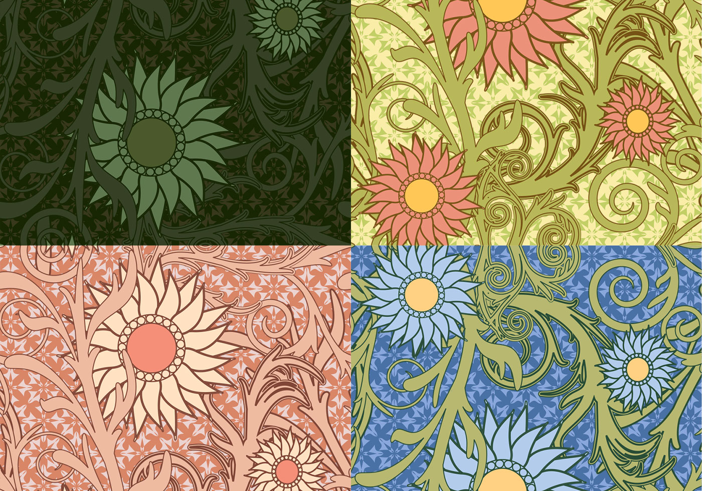 Colorful Sunflower Vector Patterns - Download Free Vectors ...