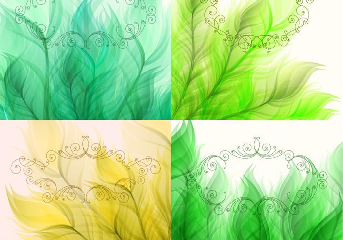 Swirly Frame Leaf Backgrounds Vector