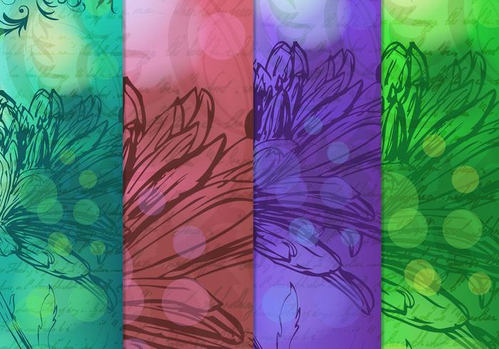 Vintage dibujado fondos florales Vector