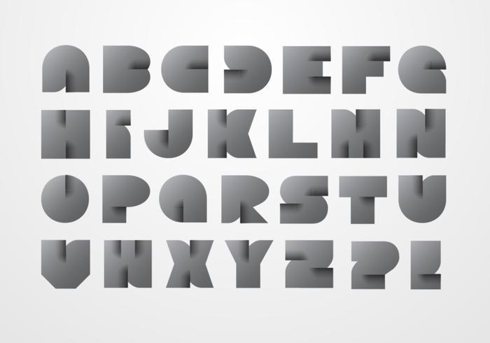 Modern Origami Alphabet Vector