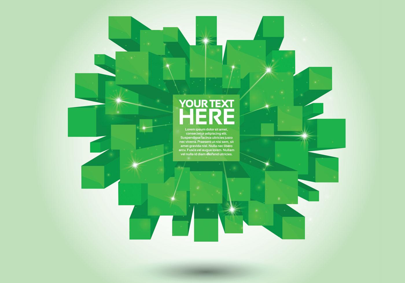 Green 3D Cube Vector Background - Download Free Vectors