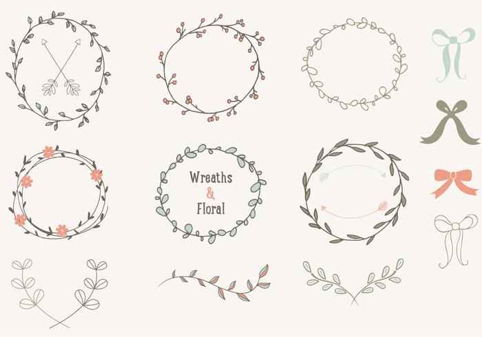 Hand Drawn Laurels Wreaths Vector Collection