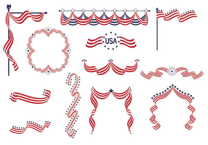 USA Ribbon Banners Vector Pack