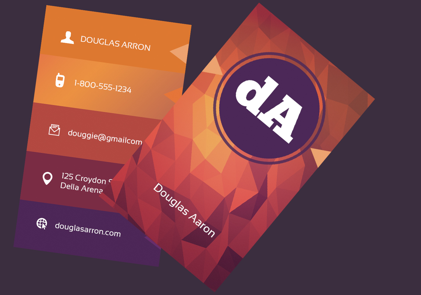Polygonal Business Card Vector Template - Download Free ...