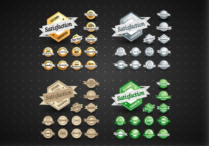 Gold, Silver, Bronze, & Green Satisfaction Labels Vector Set