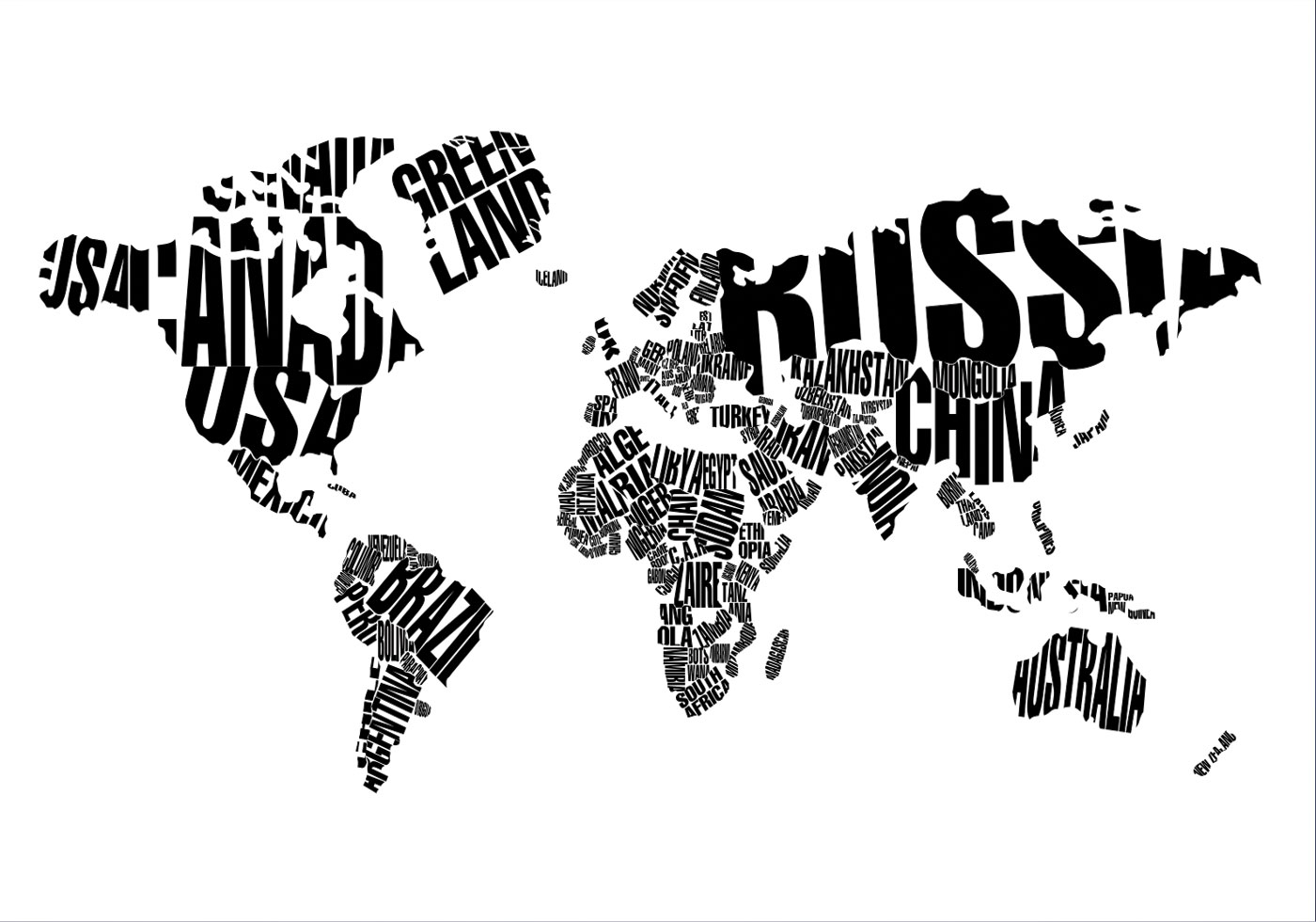 Black and white dotted world map vector download free vector art world map typography vector sciox Choice Image