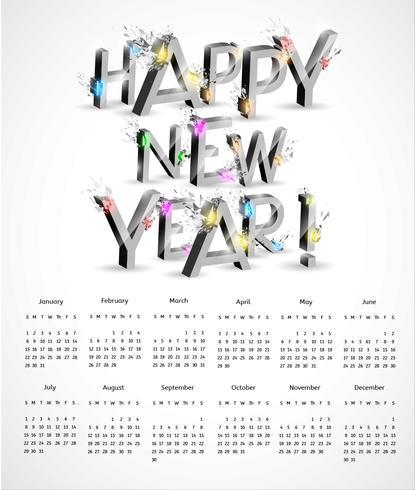 3D Explosion New Year Calendar Vector