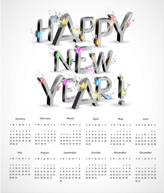 Calendar Maker Art Explosion : D explosion new year calendar vector download free