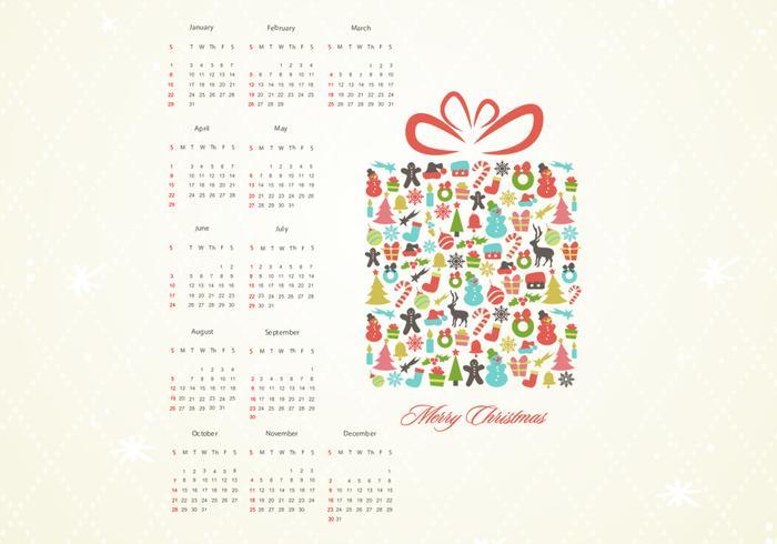 Retro Weihnachtsgeschenk Kalender Vektor