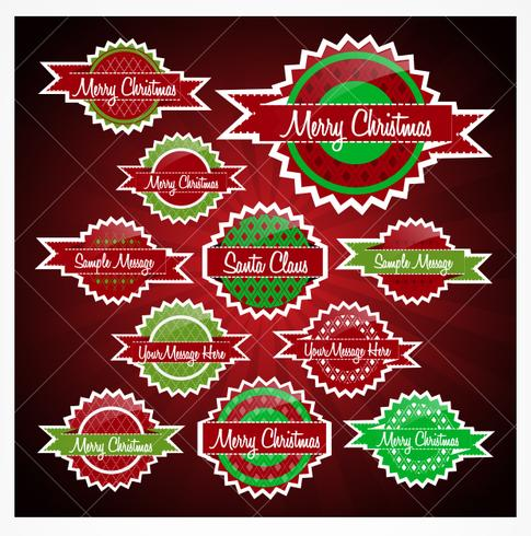 Red and Green Christmas Badges Vector Pack