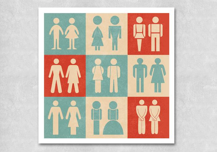 Retro Restroom Sign Vectors