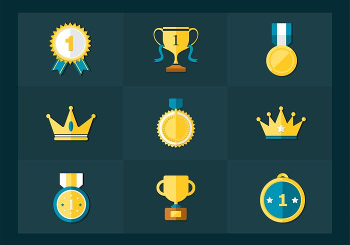 Flat Golden Trophy Medals Vector Pack
