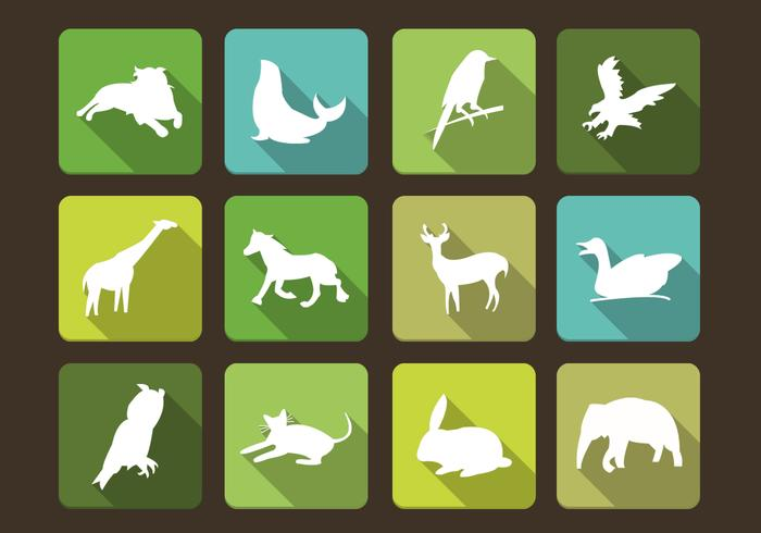 Long Shadow siluetas de animales Vector Set