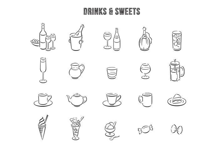 Jogo desenhado à mão de vector de sobremesas de bebidas desenhadas
