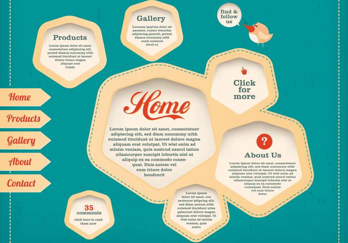 Stitched Website Template Vector