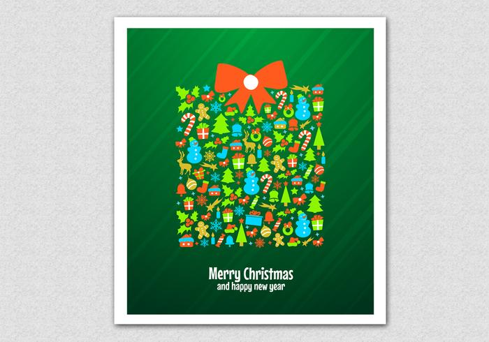 Green Christmas Gift Vector Background