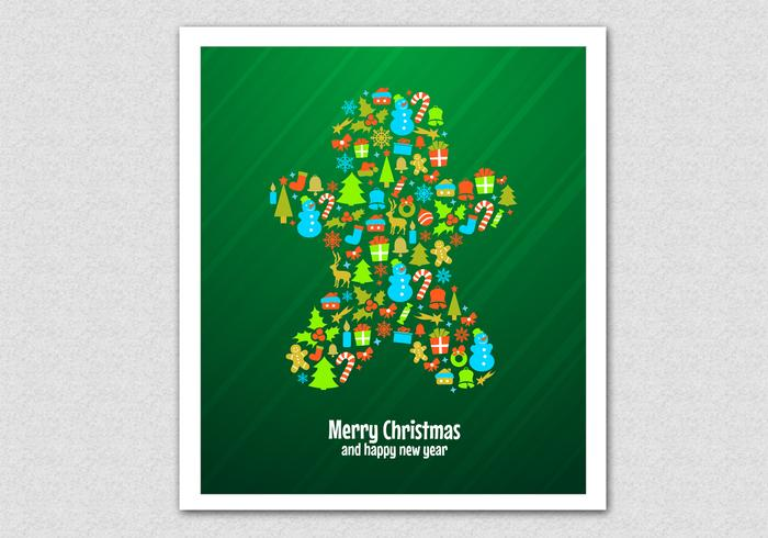 Green Christmas Cookie Vector Background