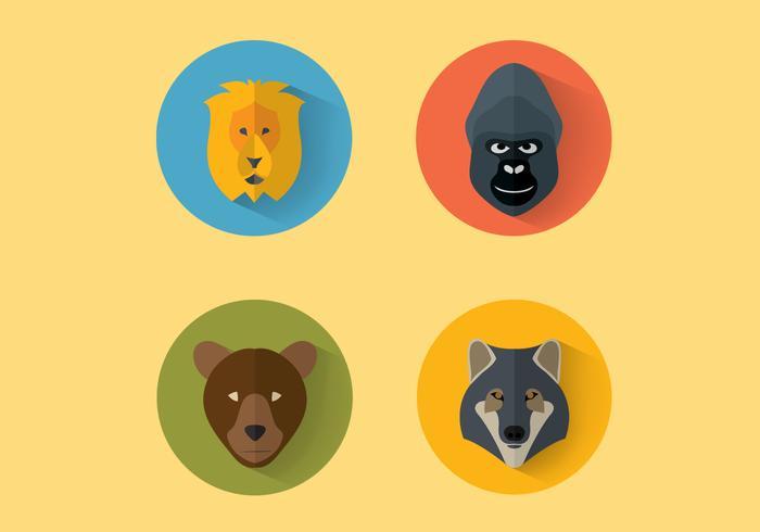 Djur porträtt vektor uppsättning två