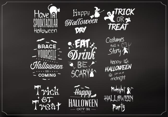 Chalkboard Halloween Elements Vector