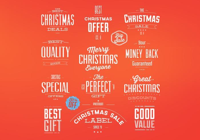 Retro insignias de Navidad conjunto de vectores