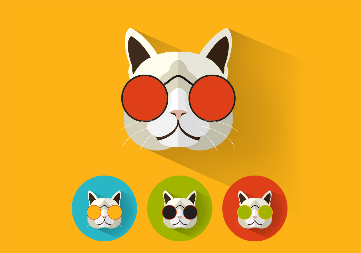 Cool Cat Icons Vector Pack Download Free Vectors