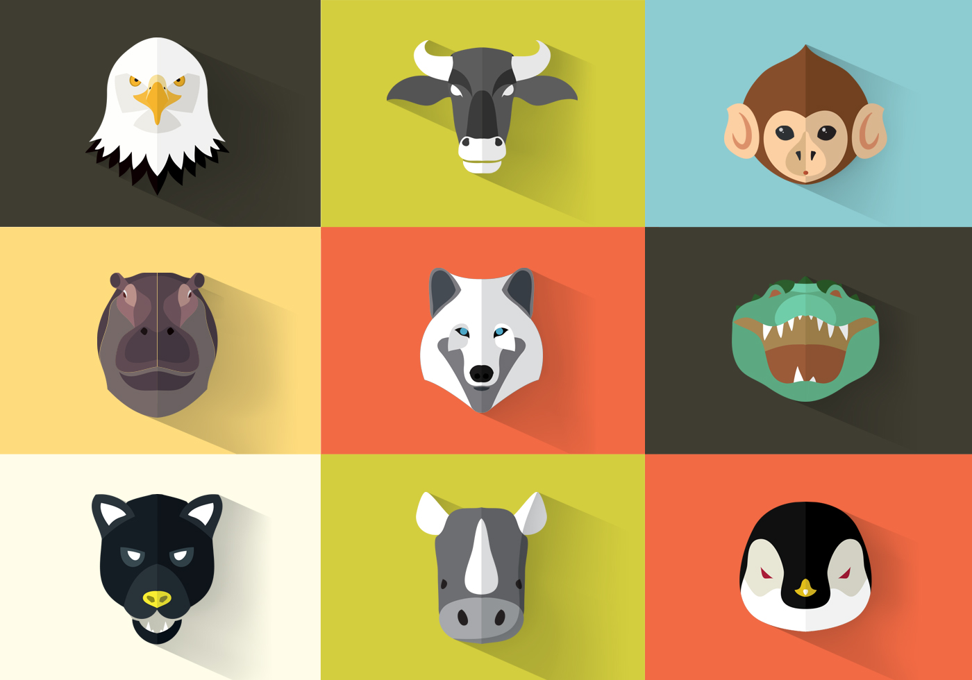 Square Flat Animal Icon Pack Vector - Download Free ...