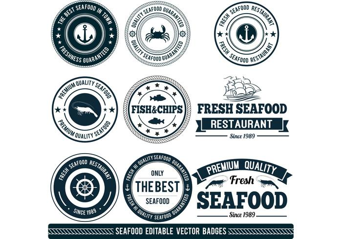 Customizable Seafood Vector Badges