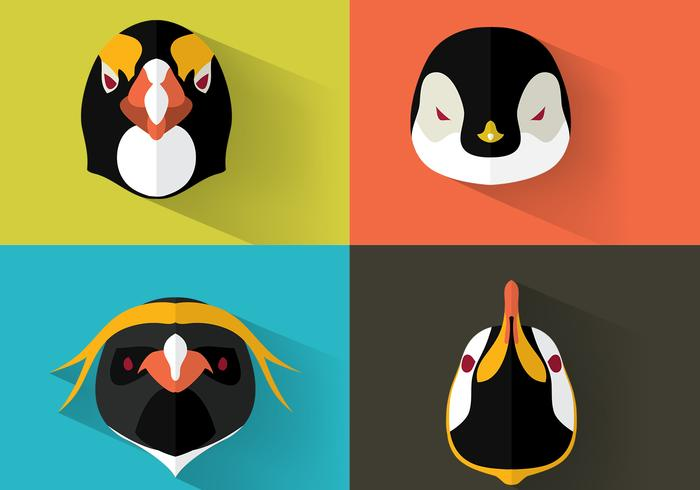 Emperor Penguin Portraits Vector Set