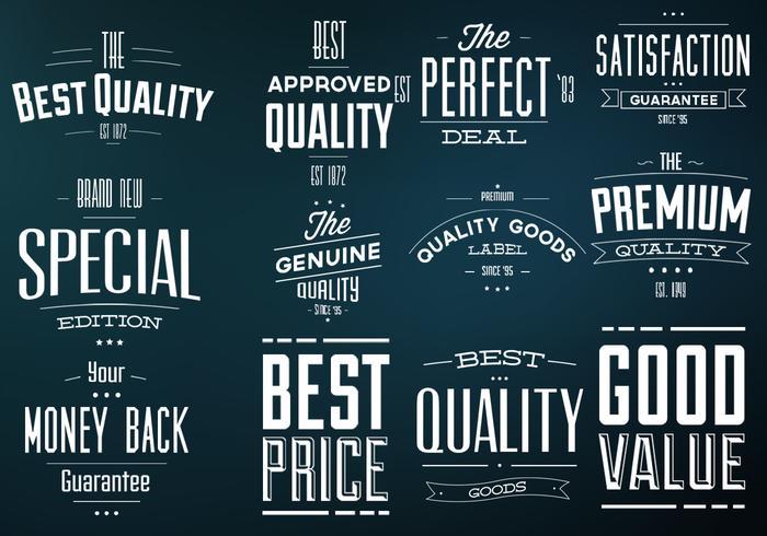 Retro Best Quality Labels Vector Set