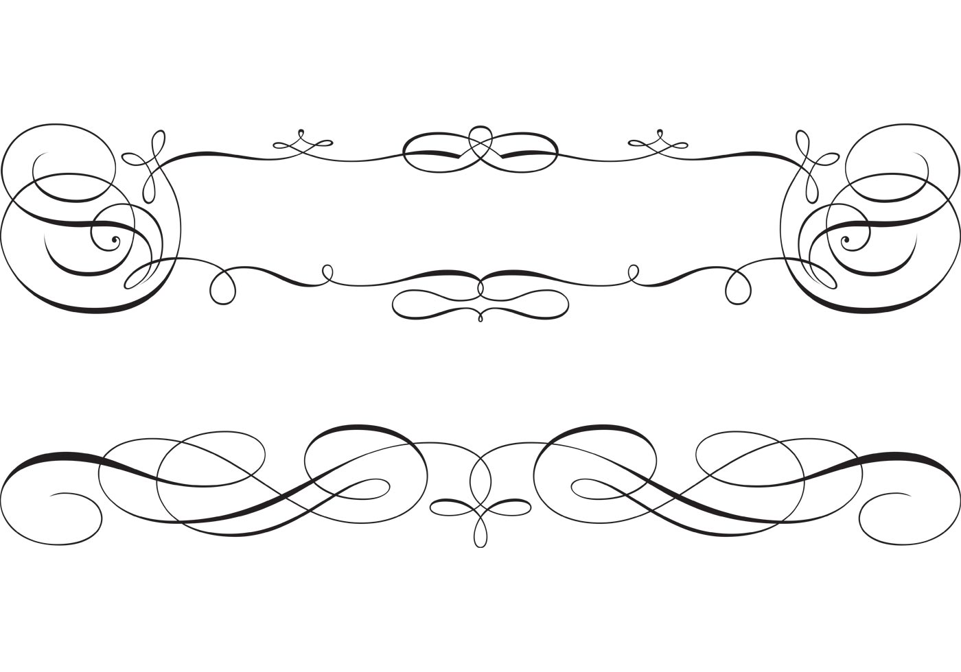 Line Drawing Vector Free : Swirly scroll frame and border vectors download free