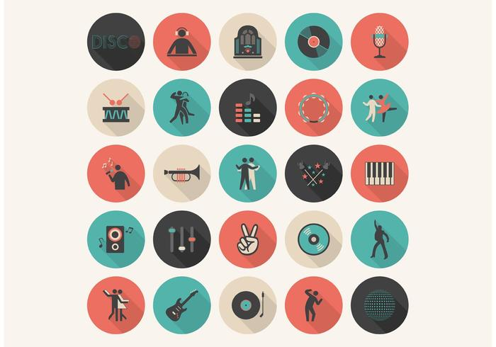 Set di icone vettoriali musica piatta