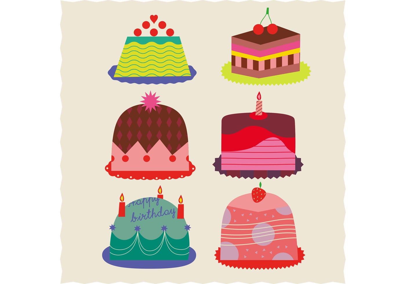 Set Of Birthday Cake Vectors Download Free Vector Art