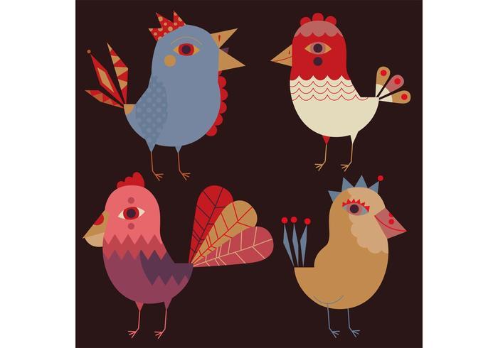 Vectores de pássaros decorativos