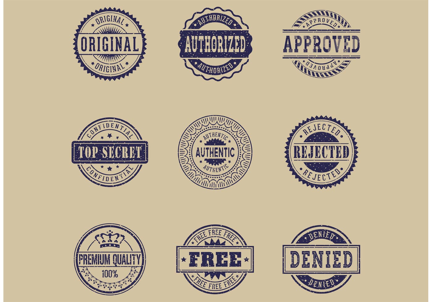 Free Commercial Grunge Rubber Stamps Vector Download